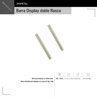 Barra para display con doble rosca