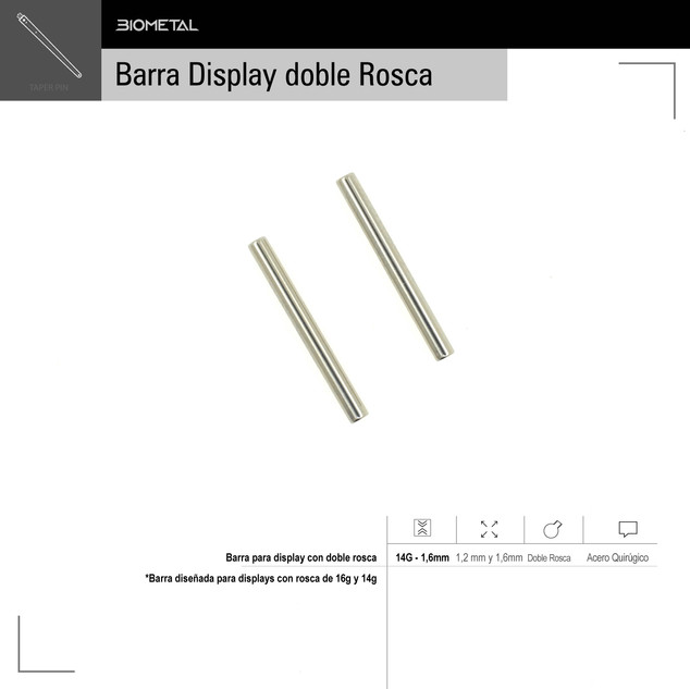 Barra para display con doble rosca