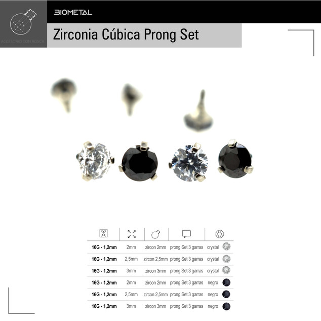 Zircon prong Set 3 garras