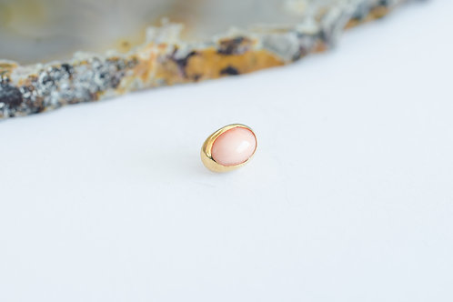 Ovalo gema rosa biselada
