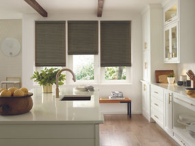 Provenance woven woods in a white kitchen.