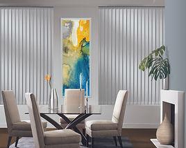 White somner vertical blinds in the dinning room.