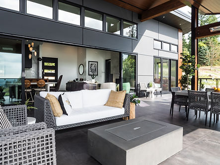 Cropped image of a modern Maple Ridge garden home.