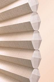 Cellular honeycomb shades.