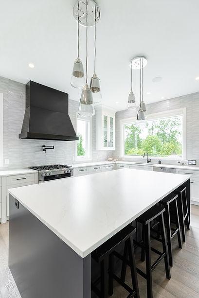 White kitchen countertop on island in Surrey B.C.