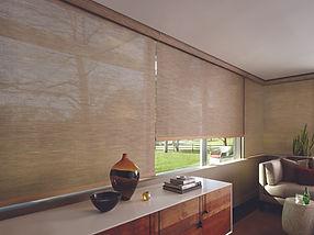 Hunter Douglas designer screen shades in a living room.