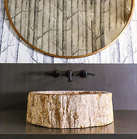 Petrified wooden vessel sink and gold rimmed mirror in the powder room.