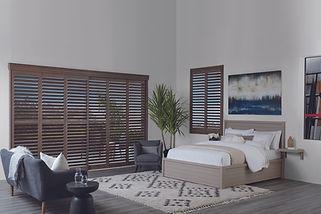 Hunter Douglas newstyle, hybrid shutters in the bedroom.