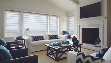 Hunter Douglas vignette roman shades in the living room.