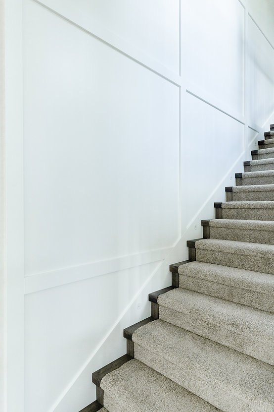 Carpet staircase and white walls.