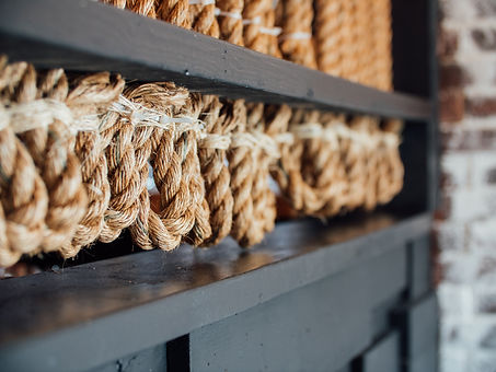 Detailed shot of rope knots.