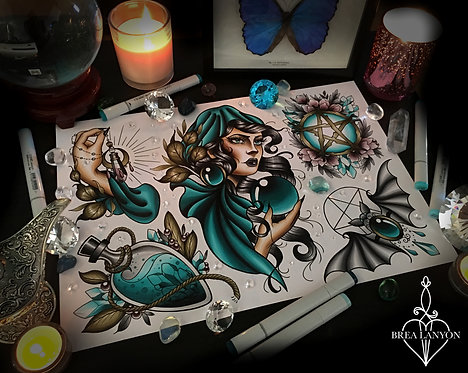 Blue Witch Flash Sheet A3