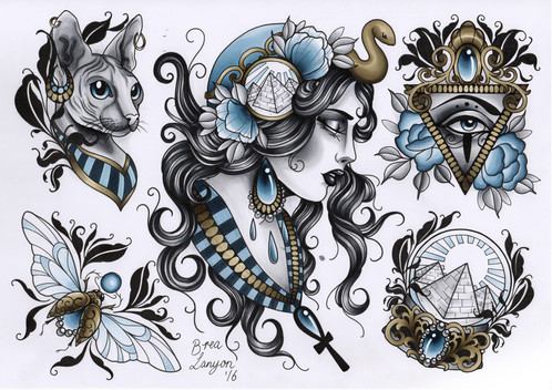 Flash sheets for Egyptian tattoo flash