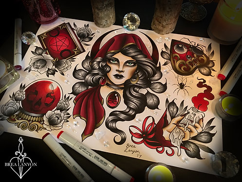 Red Witch Flash Sheet A3
