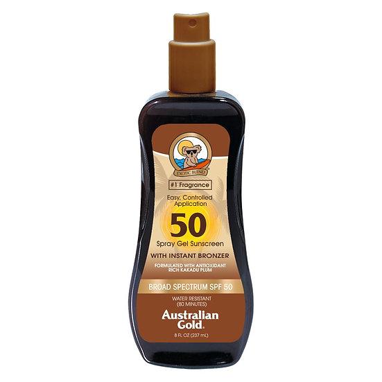 Australian Gold SPF 50 Spray Gel with bronzer