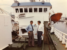Hans Mauritzen and Christian F. in Seattle on Hans' Norwegian-built container ship in 1983