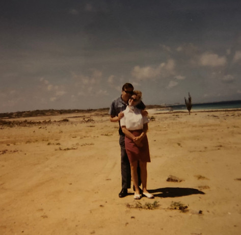 Aase and Christian enjoying a sunny day in Aruba ca. 1971