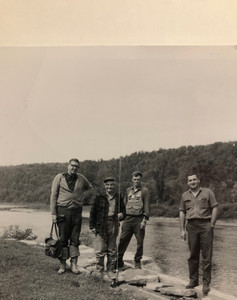 Christian Frederik (far left) fly fishing in unkown location ca. 1967