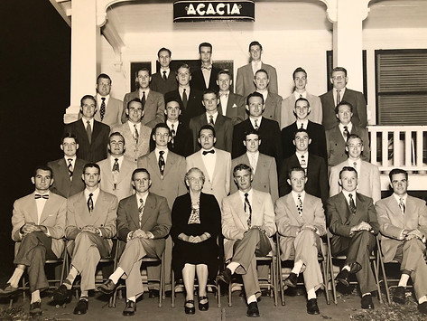 CFK (4th row, 3rd from left) and his Acacia fraternity brothers at KSU 1951