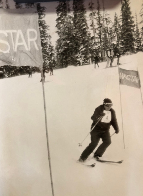CFK competing in NASTAR in Jackson Hole, WY in 1976