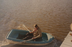 Christian Frederik rowing back from his boat Kismet III, Huntington, NY 1969