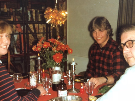 Bente, CFK and Chris Petter enjoying Christmas dinner in Bellevue, WA in 1984