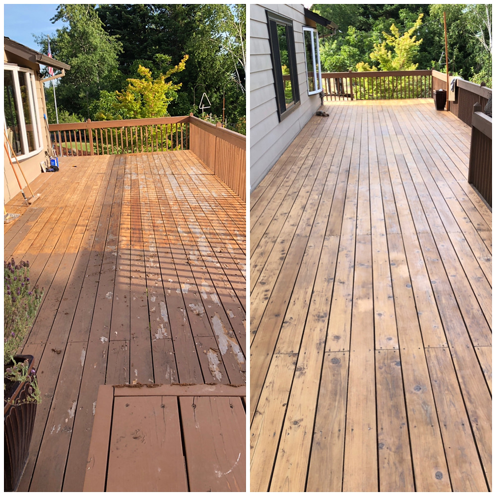 Finished scraped and stained deck