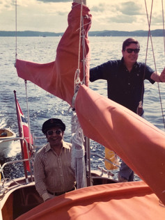 CFK sailing on the Oslo fjord with Chicho Nicolini in 1974