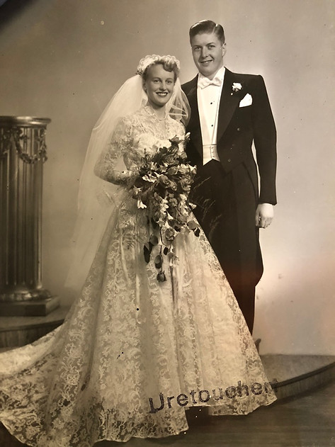 Aase and Christian Frederik Kongsore on their wedding day in February 19, 1954