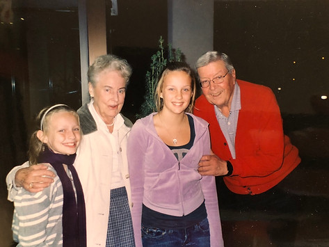 Aase and CFK with grandaugthers Kari and Lindsie Kongsore in 2009
