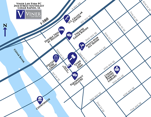 Viner Law Firm downtown Cedar Rapids map
