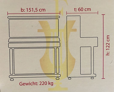 Maße und Gewicht des Feurich 122 Univeral Klaviers
