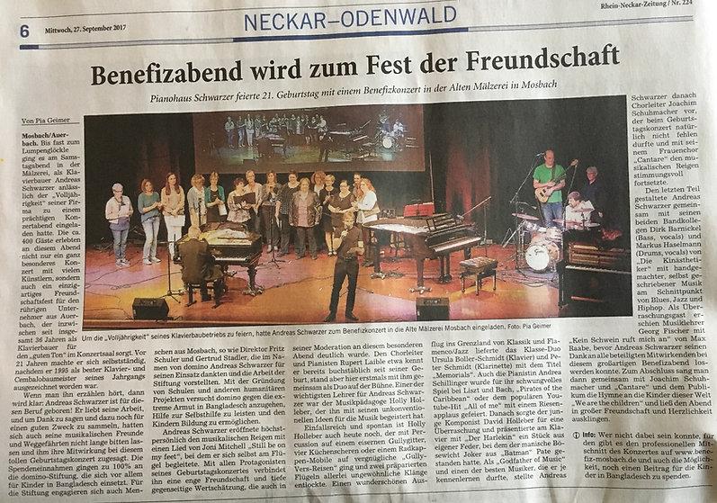 RNZ Rezension zu 21 Geburtstag des Pianohaus Schwarzer e. K.