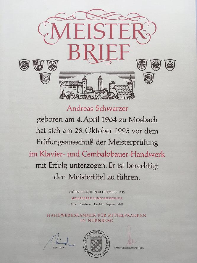 Meisterbrief Andreas Schwarzer