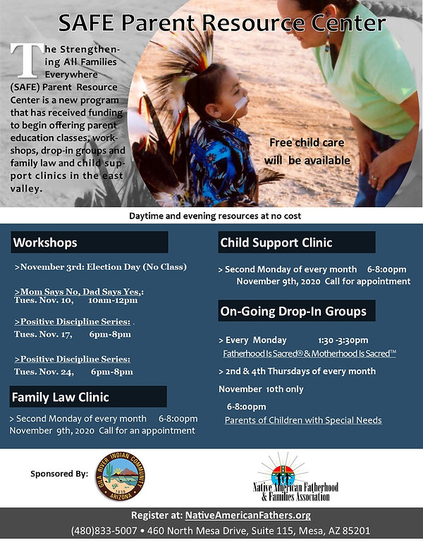 SAFE Parent Resource Center November fly