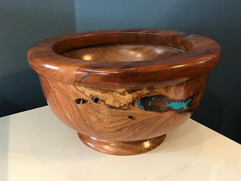 Mahagony Rim, Mesquite Bowl, Turquoise Inlay