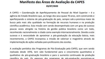 Nota de Apoio ao Manifesto das Áreas de Avaliação da CAPES