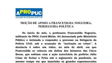 APROPUC manifesta total solidariedade à Francenilda Nogueira, perseguida politicamente