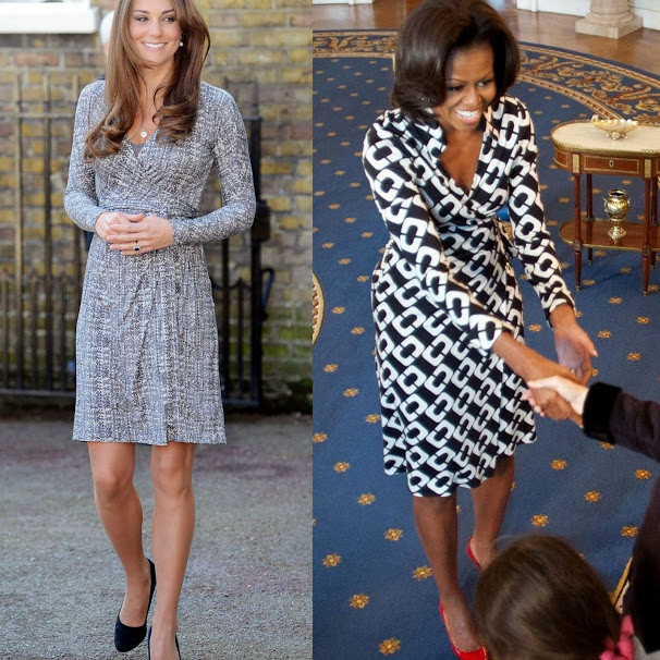 Now: The Dutchess of Cambridge Kate Middleton and the First Lady Michelle Obama both wearing a DVF Wrap Dress.