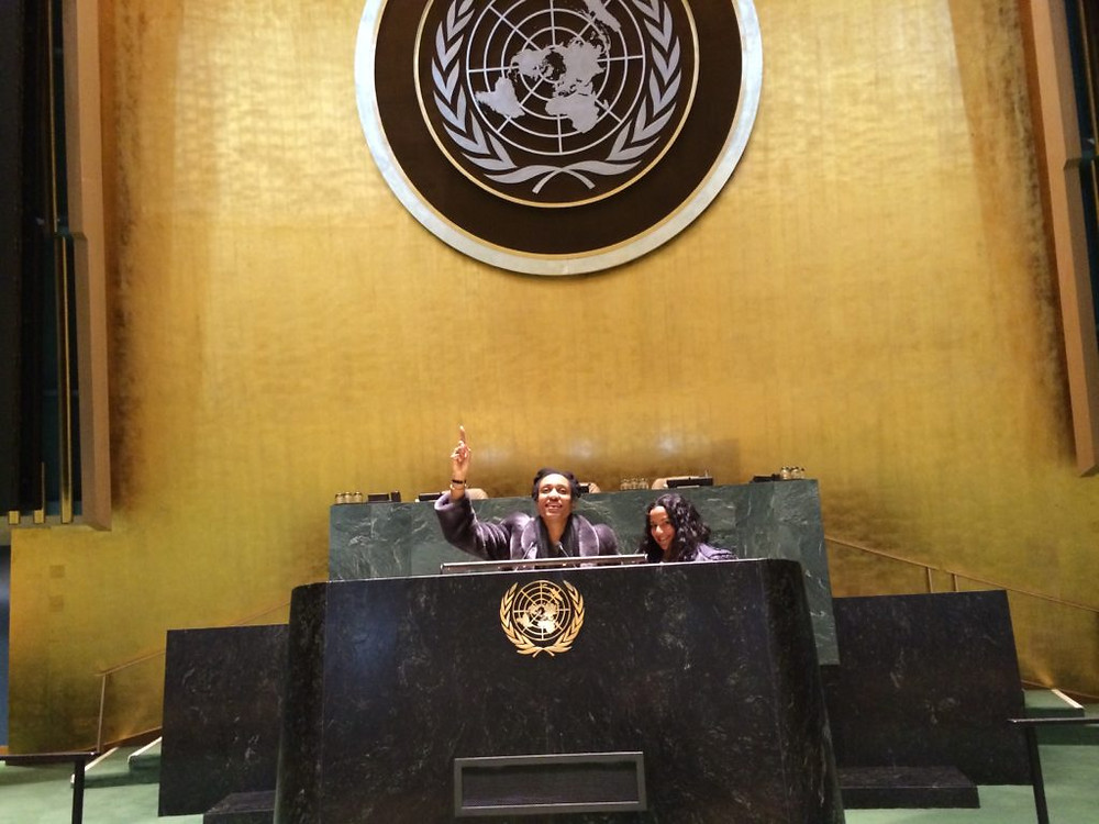 My friend and me playing on the UN General Assembly Floor.