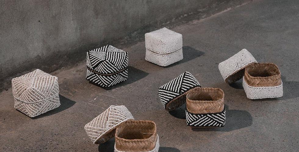 Bamboo Beaded Trinket Basket