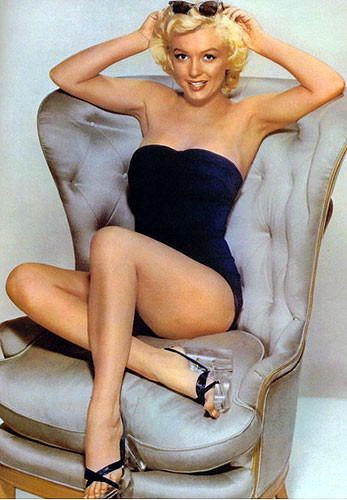 Marilyn Monroe in Black Strapless One Piece with Lucite Heels