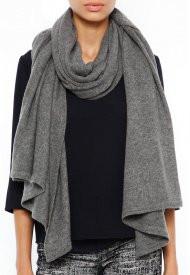 Minnie Rose Cashmere Blankie Wrap in Grey Flannel