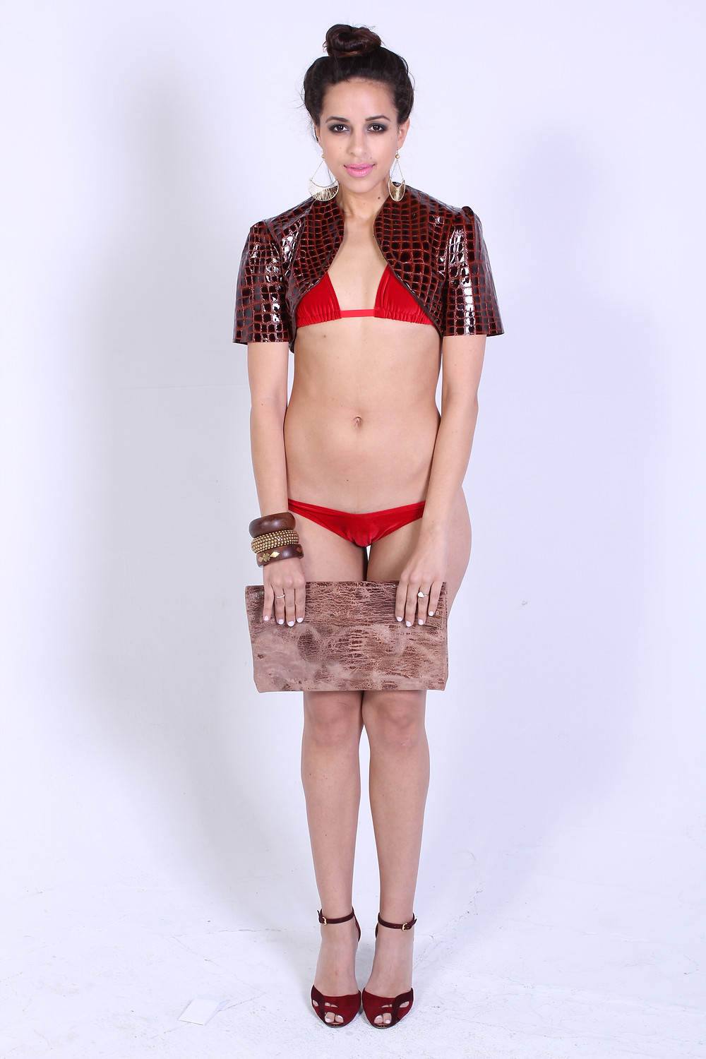 Leather Clutch, Leather Croc Bolero, and swim suit: Nager By Nic Hyl Model: Yami Mufdi