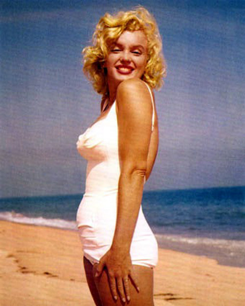 Marilyn Monroe in a White One Piece