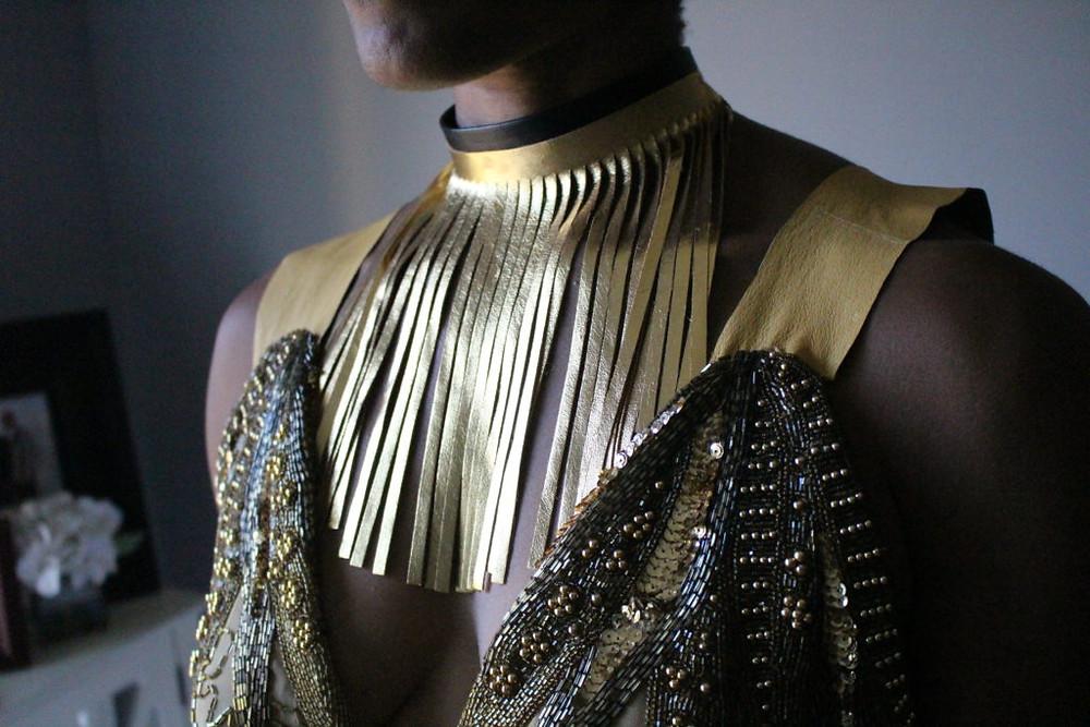 gold, fringe, choker, leather, handmade