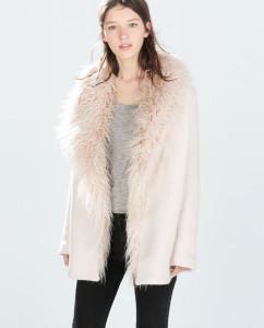 www.zara.com Coat with Fur Collar