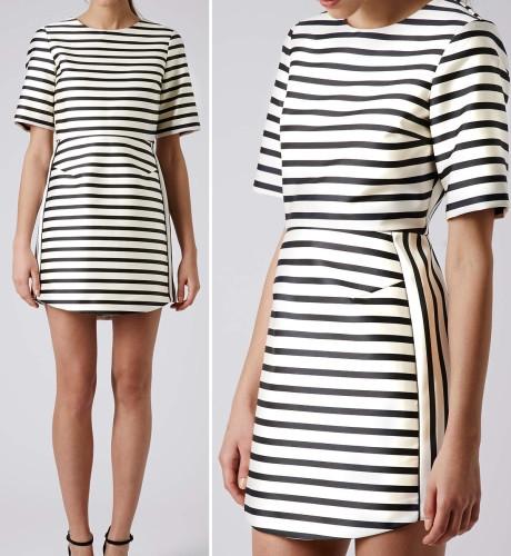 Satin Stripe A-line Dress www.topshop.com