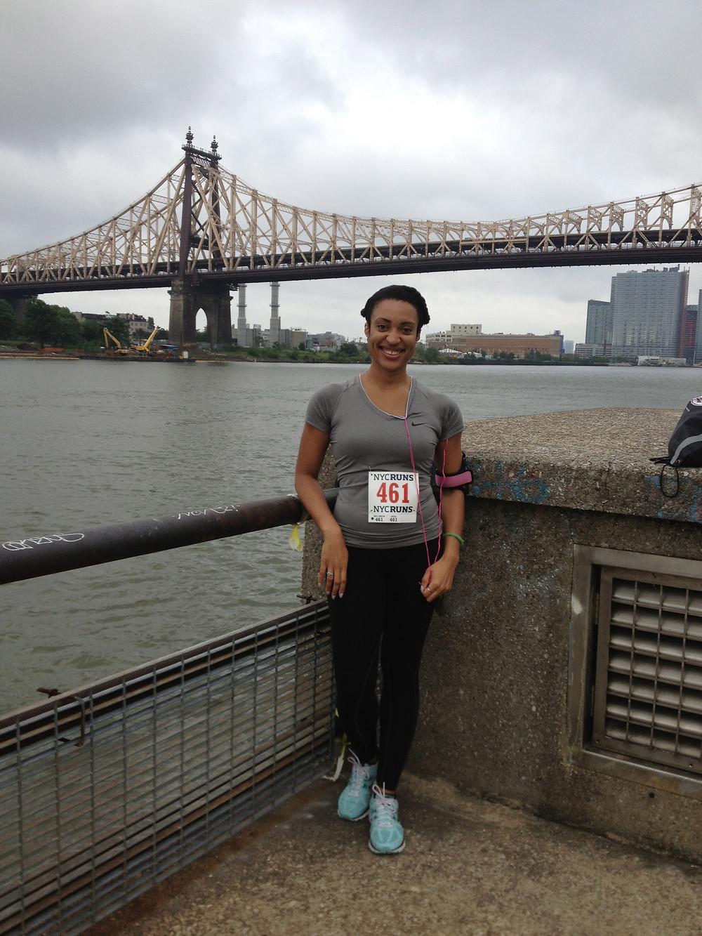 Before My first 5k Race under the Queensboro Bridge.