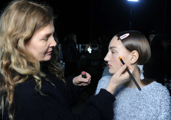 Nude Face and bold brows at Christopher Kane.